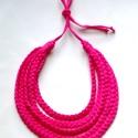 Pink textil sokszálas fonott nyaklánc BASIC, Ékszer, óra, Nyaklánc, Klasszikus sokszálas, csak fonott szálakból álló nyaklánc kizárólag textilből készítve.. Nem tartalm..., Meska