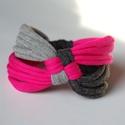 DIAGONAL - textil karkötő, szürke/pink, Ékszer, óra, Karkötő, Új karkötőkollekció, amely a DIAGONAL névre hallgat.  Antiallergén, ahogy az a textilékszereimnél má..., Meska