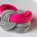 LASSO - textil karkötő, szürke/pink, Ékszer, óra, Karkötő, Új karkötőkollekció, amely a LASSO névre hallgat.  Antiallergén, ahogy az a textilékszereimnél már m..., Meska