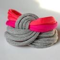 LASSO - textil karkötő, szürke/pink/korall, Ékszer, óra, Karkötő, Új karkötőkollekció, amely a LASSO névre hallgat.  Antiallergén, ahogy az a textilékszereimnél már m..., Meska