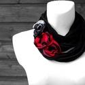 HYBRIO Flower edition sál-nyaklánc - fekete/piros, 3 pinnel, Ékszer, óra, Nyaklánc, HYBRIO Sál-nyaklánc 3 virágot formázó brossal kizárólag textilből készítve. Nem tartalmaz allergén a..., Meska