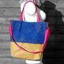 Tote bag - mosható papír/királykék/pink/színes, Táska, Válltáska, oldaltáska, lashing technikával, kézzel készült válltáska pamut béléssel, zippzárral. A táska újrahasznosított, ..., Meska