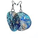 Kör alakú, pillepalack-fülbevaló(6cm), kék/barna, Kb 6 cm átmérőjű (plusz nikkelmentes szerelék...