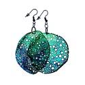 Kör alakú, pillepalack-fülbevaló(5,5cm), zöld/kék, Ékszer, óra, Fülbevaló, Kb 5,5 cm átmérőjű (plusz nikkelmentes szerelék), kör alakú, pillesúlyú, PETpalack fülbevaló pontozo..., Meska