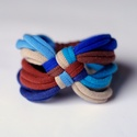 DIAGONAL - textil karkötő, kék/barna, Ékszer, óra, Karkötő, Új karkötőkollekció, amely a DIAGONAL névre hallgat.  Antiallergén, ahogy az a textilékszereimnél má..., Meska