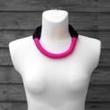 ONLYTWO  textil, sokszálas nyaklánc - pink/fekete (cirrhopp) - Meska.hu