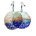 Kör alakú, pillepalack-fülbevaló(6cm), kék/narancs, Ékszer, óra, Fülbevaló, Kb 6 cm átmérőjű (plusz nikkelmentes szerelék), kör alakú, pillesúlyú, PETpalack fülbevaló pontozott..., Meska