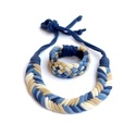 Acélkék/beige/drapp Fishbone/Tribequa ékszerszett, Ékszer, óra, Nyaklánc, Klasszikus  Fishbone nyaklánc  és Tribequa karkötő kizárólag textilből készítve. Nem tartalmaz aller..., Meska