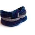 LASSO - textil karkötő, sötétkék-farmeros hangulatú, Ékszer, óra, Karkötő, Új karkötőkollekció, amely a LASSO névre hallgat.  Antiallergén, ahogy az a textilékszereimnél már m..., Meska