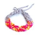 POP nyaklánc karkötővel - szürke/narancs/pink/lazac/napsárga, Ékszer, óra, Mindenmás, Nyaklánc, Egyedi textúrájú, saját fejlesztésű pop-textilből készült sokszálas, hátul megkötővel szabályozható ..., Meska