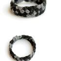 TRIBEQUA for men - textil karkötő szürke/fekete, Ékszer, óra, Karkötő, Textilkarkötő fárfiaknak, keskenyebb kivitelben, pasis színekben, nagyobb átmérővel.  Hossza kb 20-2..., Meska