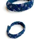TRIBEQUA for men - textil karkötő - kék, Ékszer, óra, Karkötő, Textilkarkötő fárfiaknak, keskenyebb kivitelben, pasis színekben, nagyobb átmérővel.  Hossza kb 20-2..., Meska
