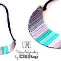 LINE nyaklánc - szürke/fekete/menta, Ékszer, óra, Nyaklánc, Minimalista, félhold alakú nyaklánc újrahasznosítot textil és maradék bőr/kraft-tex felhasználásával..., Meska