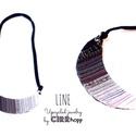 LINE nyaklánc - szürke/fekete, Ékszer, óra, Nyaklánc, Minimalista, félhold alakú nyaklánc újrahasznosítot textil és maradék bőr/kraft-tex felhasználásával..., Meska