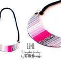 LINE nyaklánc - szürke/pink, Ékszer, Nyaklánc, Minimalista, félhold alakú nyaklánc újrahasznosítot textil és maradék bőr/kraft-tex felhasználásával..., Meska
