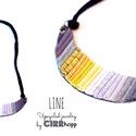 LINE nyaklánc - szürke/mustár, Ékszer, óra, Nyaklánc, Minimalista, félhold alakú nyaklánc újrahasznosítot textil és maradék bőr/kraft-tex felhaszn..., Meska
