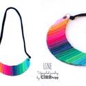 LINE nyaklánc - multicolor, Ékszer, óra, Nyaklánc, Minimalista, félhold alakú nyaklánc újrahasznosítot textil és maradék bőr/kraft-tex felhasználásával..., Meska
