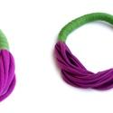 Lila/zöld sokszálas, textil ONLYTWO nyaklánc, Ékszer, óra, Nyaklánc, Csak két szín - sokszálas BAsic textilnyaklánc. Nincs benne fém. Bababarát. Karonülők által rángatha..., Meska