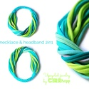 BASIC 2in1 nyaklánc és hajpánt - tenger színekben, Klasszikus sokszálas csavart nyaklánc, amely haj...