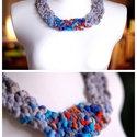 POP nyaklánc - szürke/kék/narancs, Ékszer, Mindenmás, Nyaklánc, Egyedi textúrájú, saját fejlesztésű pop-textilből készült sokszálas, hátul megkötővel szabályozható ..., Meska