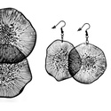 Plabodot Dandelion fülbevaló - grafit, Kb 5 cm átmérőjű (plusz nikkelmentes szerelék...