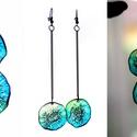 Plabodot Dandelion fülbevaló - long, türkiz/zöld, Ékszer, óra, Fülbevaló, Kb 3 cm átmérőjű (összesen 10cm hosszú a fülbevaló), kör alakú, pillesúlyú, PETpalack fülbevaló pity..., Meska