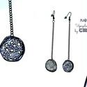 Plabodot  fülbevaló - long, grafit, Ékszer, óra, Fülbevaló, Kb 2 cm átmérőjű (plusz nikkelmentes szerelék így összesen 10cm hosszú a fülbevaló), kör alakú, pill..., Meska