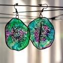 Plabodot Dandelion fülbevaló - lila/zöld, Ékszer, óra, Fülbevaló, Kb 5 cm átmérőjű (plusz nikkelmentes szerelék), kör alakú, pillesúlyú, PETpalack fülbevaló pontozott..., Meska