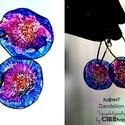 Plabodot Dandelion fülbevaló - lila/narancs karikás, Ékszer, óra, Fülbevaló, Kb 2.5 cm átmérőjű (plusz nikkelmentes szerelék, karkika: 3,5cm), kör alakú, pillesúlyú, PETpalack f..., Meska