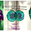 Plabodot Dandelion fülbevaló - zöld/lila, Kb 6 cm átmérőjű (plusz nikkelmentes szerelék...