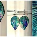 Plabodot LEAF fülbevaló - kék/zöld/lila, Kézzel készített és festett PLABODOT fülbeval...