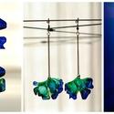 Plabodot GINKGO fülbevaló - kék/zöld, Ékszer, Fülbevaló, Kézzel készített és festett PLABODOT GInkgo fülbevaló nikkelmentes szerelékkel. Kb 2,5*3,5cm, hossz ..., Meska