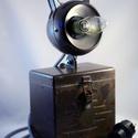 Retro bakterlámpa asztali lámpaként csíkos textilkábellel, antik szénszálas izzóval, Ékszer, óra, Otthon, lakberendezés, Lámpa, Asztali lámpa, Újrahasznosított alapanyagból készült termékek, Fémmegmunkálás, Retro bakterlámpa asztali lámpaként csíkos textilkábellel. Antik, szénszálas izzóval (40W) szállítj..., Meska