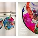 Plabodot Dandelion fülbevaló - színes3, Ékszer, óra, Fülbevaló, Kb 6 cm átmérőjű (plusz nikkelmentes szerelék), kör alakú, pillesúlyú, PETpalack fülbevaló pontozott..., Meska
