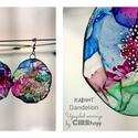 Plabodot Dandelion fülbevaló - színes4, Ékszer, óra, Fülbevaló, Kb 6 cm átmérőjű (plusz nikkelmentes szerelék), kör alakú, pillesúlyú, PETpalack fülbevaló pontozott..., Meska