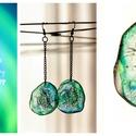 Plabodot  fülbevaló - halványkék/zöld, Ékszer, Fülbevaló, Kb 4 cm átmérőjű (plusz nikkelmentes réz színű szerelék így összesen 10cm hosszú a fülbevaló), kör a..., Meska