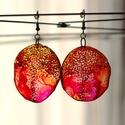 Plabodot Dandelion fülbevaló - narancs/pink, Ékszer, óra, Fülbevaló, Kb 4 cm átmérőjű (plusz nikkelmentes szerelék), kör alakú, pillesúlyú, PETpalack fülbevaló pontozott..., Meska