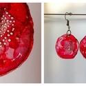 Plabodot Dandelion pillepalack-fülbevaló - piros, Ékszer, Fülbevaló, Ékszerkészítés, Újrahasznosított alapanyagból készült termékek, Kb 3 cm átmérőjű (plusz nikkelmentes szerelék), kör alakú, pillesúlyú, PETpalack fülbevaló pontozot..., Meska
