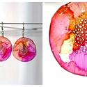 Plabodot Dandelion pillepalack-fülbevaló - narancs/pink/sárga, Ékszer, Fülbevaló, Ékszerkészítés, Újrahasznosított alapanyagból készült termékek, Kb 5 cm átmérőjű (plusz nikkelmentes szerelék), kör alakú, pillesúlyú, PETpalack fülbevaló pontozot..., Meska