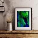 Művészi nyomat /Art print A4-es méretben - kék/zöld FLOW, Képzőművészet, Napi festmény, kép, Festmény, Festmény vegyes technika, Kis példányszámú, A4-es méretű(!) reprodukció (20db készült belőle). Aláírt, számozott digitális nyo..., Meska
