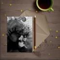 Képeslap 10x15cm-es méretben - fekete/szürke  FLOW, Képzőművészet, Napi festmény, kép, Festmény, Festmény vegyes technika, Saját munkámat ábrázló képeslap 250 grammos, matt műnyomó, fóliázott papíron. Hátoldala megcímezhető..., Meska