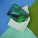 Képeslap 10x15cm-es méretben - kék/zöld  FLOW, Képzőművészet, Napi festmény, kép, Festmény, Festmény vegyes technika, Saját munkámat ábrázló képeslap 250 grammos, matt műnyomó, fóliázott papíron. Hátoldala megcímezhető..., Meska