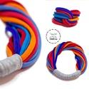 Onlytwo ékszerszett - kék/narancs/tarka, Ékszer, Ékszerszett, Lágy vonalú, pamut nyaklánc (kb65cm), mely kétféleképpen hordható - attól függően hová esik a tekert..., Meska