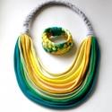 Zöld/sárga BASIC nyaklánc + Tribequa karkötő , Ékszer, Nyaklánc,  Klasszikus, sokszálas BASIC nyaklánc és Tribequa karkötő kizárólag textilből készítve. Nem tartalma..., Meska