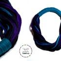 Fekete/kék sokszálas, textil ONLYTWO nyaklánc, Ékszer, Nyaklánc, Sokszálas textilnyaklánc. Nincs benne fém. Bababarát. Karonülők által rángatható.  A nyaklánc bebújó..., Meska