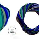 HYBRIO kék/zöld hangulatú nyaklánc, Lágy vonalú, pamut sál-nyaklánc (kb75cm), mely...