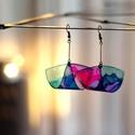 Plabodot Folded pillepalack-fülbevaló - zöld/lila/kék, Kb 5*3cm-es cm átmérőjű (nikkelmentes szerelé...