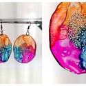 Plabodot Dandelion pillepalack-fülbevaló - narancs/lila/türkiz, Kb 5 cm átmérőjű (plusz nikkelmentes szerelék...