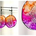 Plabodot Dandelion pillepalack-fülbevaló - narancs/pink/lila, Kb 4 cm átmérőjű (plusz nikkelmentes szerelék...