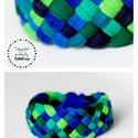 TRIBEQUA - textil karkötő,  kék/zöld, Ékszer, Karkötő, Textilkarkötő élénk színekben, lágy vonalakkal.  Hosssza kb 18-19 cm. Szélessége 3 cm.  Kérhető más ..., Meska